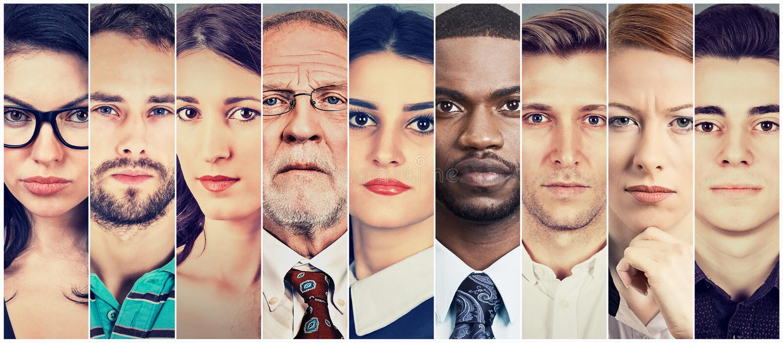 Multiethnic group of serious people. Multiethnic group of serious diverse people stock image