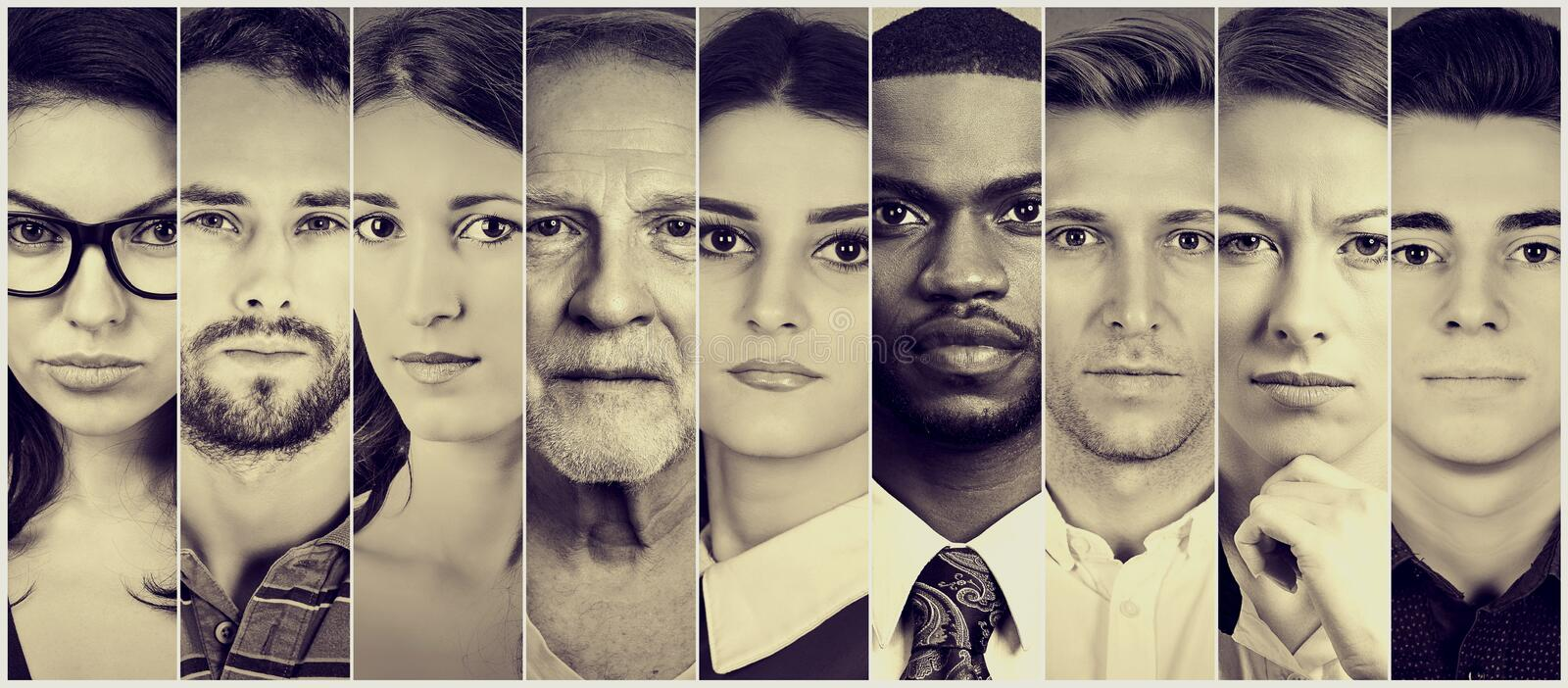 Multiethnic group of serious people. Men and women royalty free stock photography