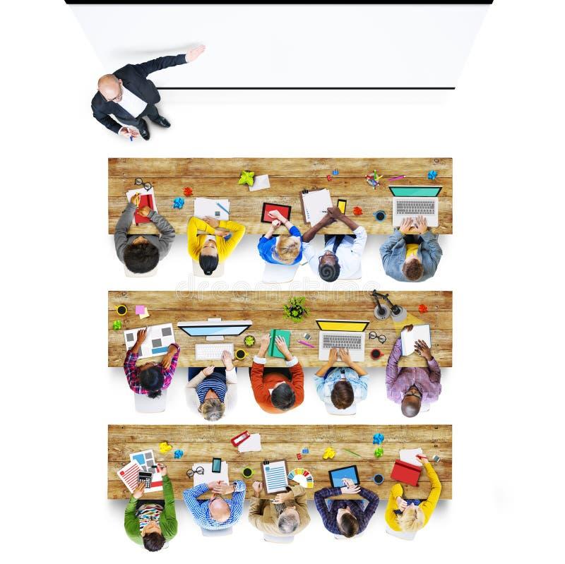 Multiethnic Group of Student Studying. Photo Illustration royalty free illustration