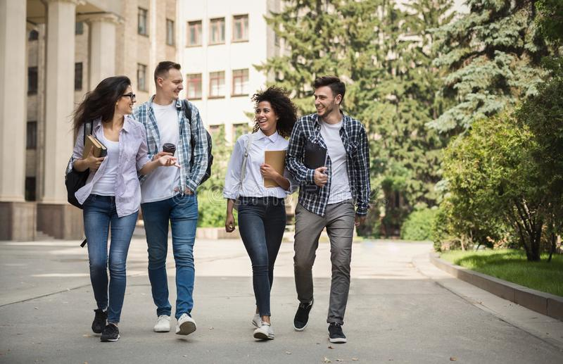 Multiethnic group of students near collage royalty free stock photos