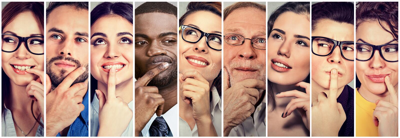 Multiethnic group of thoughtful men women. People`s thoughts. Multiethnic group of thoughtful men and women. People`s thoughts concept royalty free stock photos