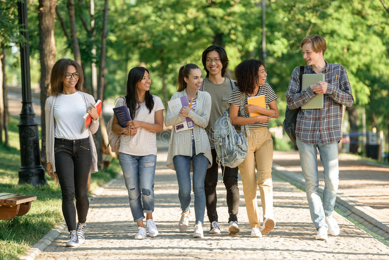 Multiethnic group of young cheerful students walking royalty free stock images