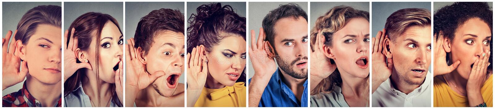 Multiethnic group of young people men and women listening eavesdropping royalty free stock photography