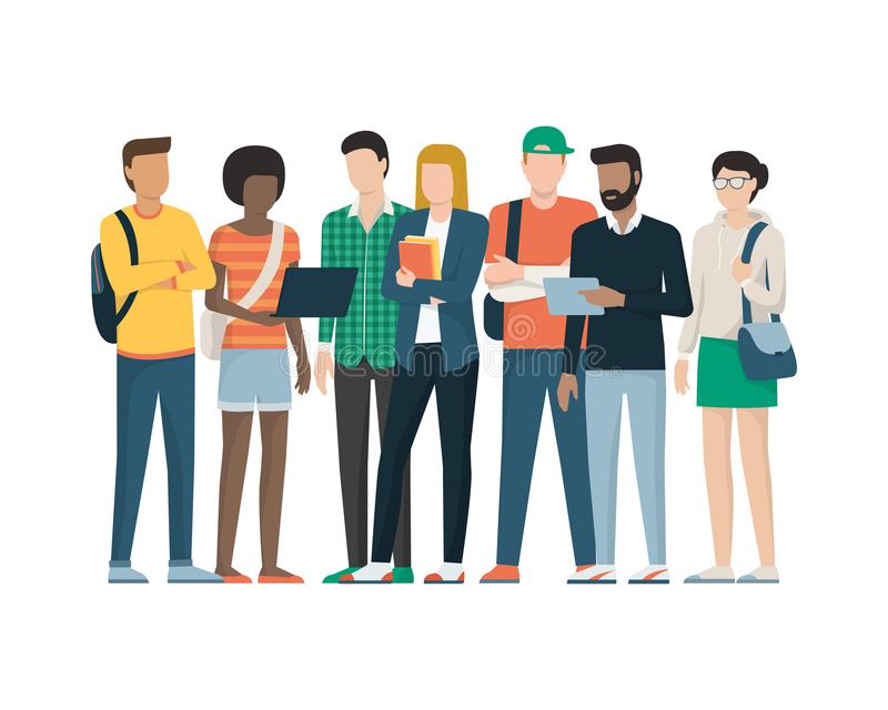 Group of students. Multiethnic group of young students standing together, education and youth concept royalty free illustration