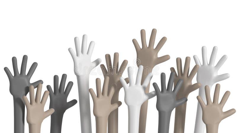 Multiethnic hands raised up. Diversity concept royalty free illustration