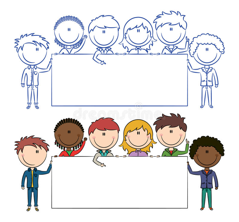 Multiethnic kids holding banners. Cute multiethnic boys and girls holding empty blank banners stock illustration