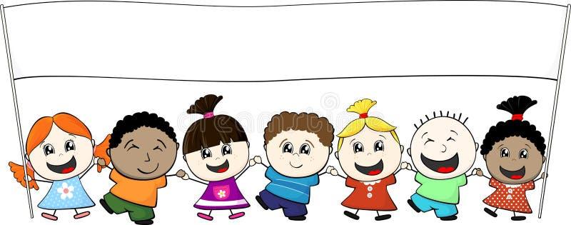Multiethnic little kids. Holding banner isolated on white background vector illustration