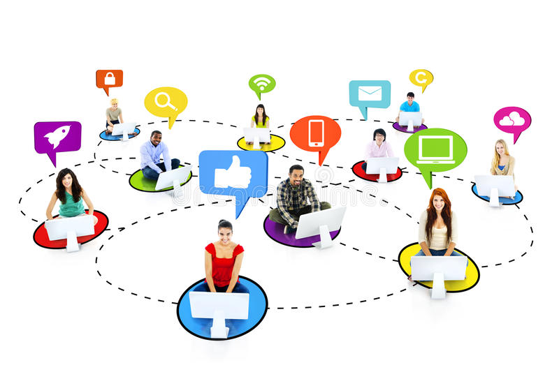 Multiethnic People Connecting With Social Media Symbols Stock Photo