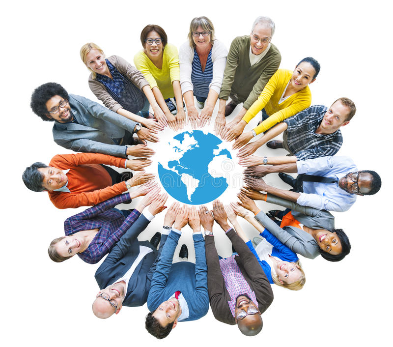 Multiethnic People Forming Circle and Globe.  royalty free stock images