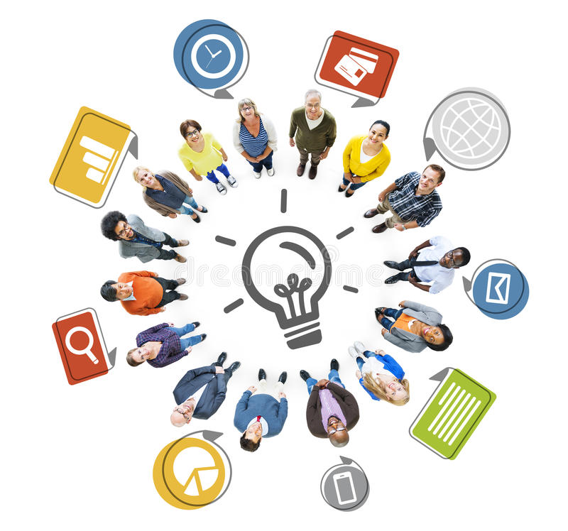 Multiethnic People Forming Circle and Innovation Concept.  royalty free illustration