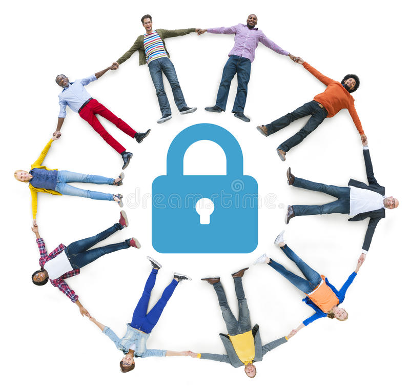 Multiethnic People Forming Circle and Security Concept.  royalty free illustration