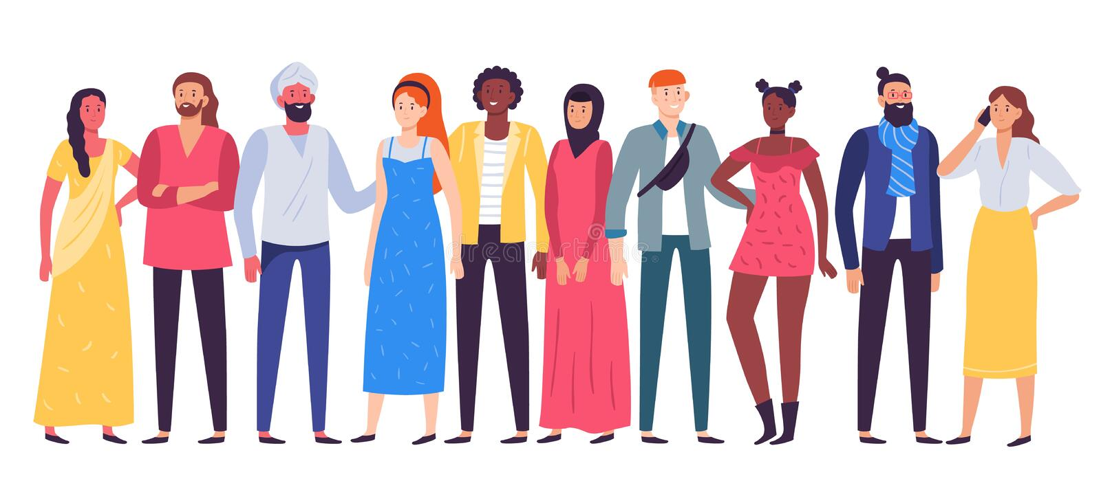 Multiethnic people group. Workers team, diverse people standing together and coworkers in casual outfit flat vector. Multiethnic people group. Workers team vector illustration