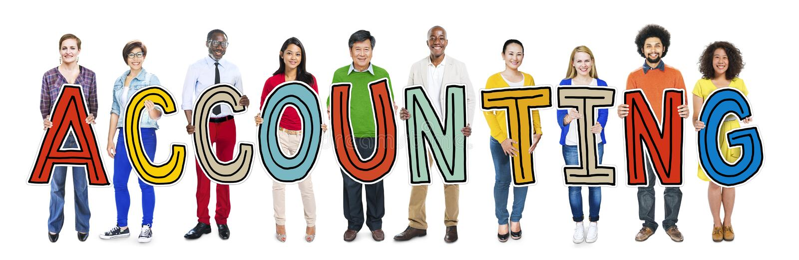 Multiethnic People Holding Word Accounting. Multiethnic Group of People Holding Word Accounting stock illustration