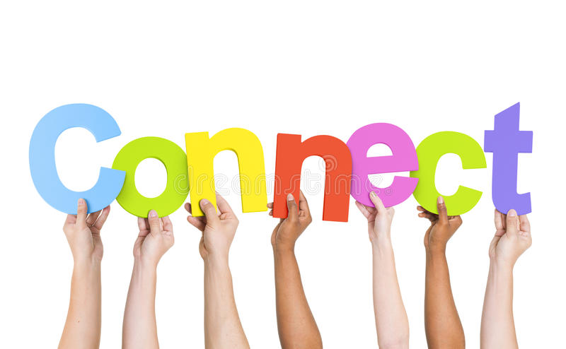 Multiethnic People Holding Word Connect stock photo