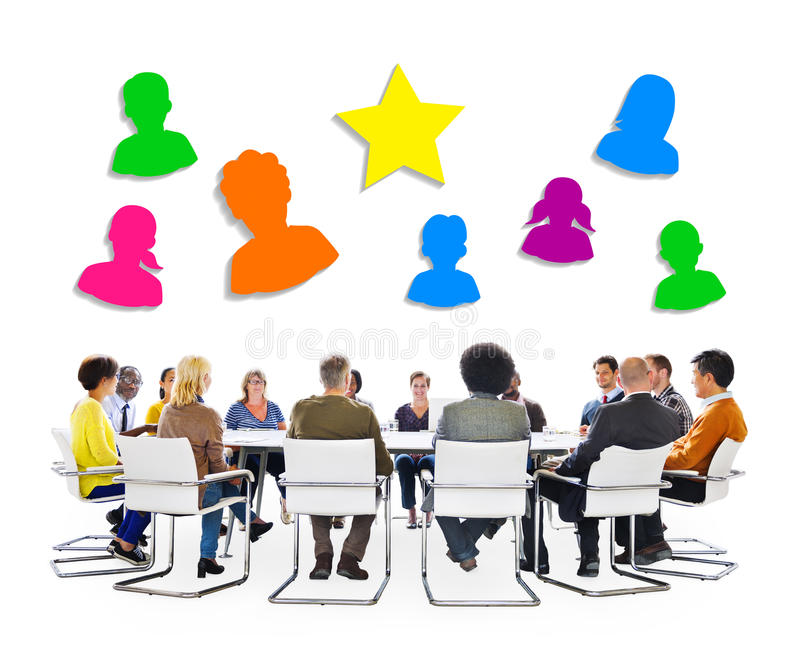 Multiethnic People Meeting and Social Media Symbols Above.  royalty free stock photo