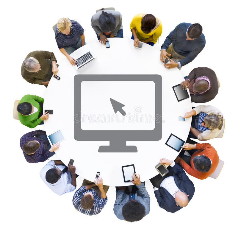 Multiethnic People Using Digital Devices with Computer Symbol.  royalty free stock images