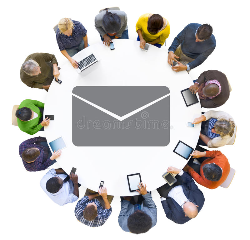 Multiethnic People Using Digital Devices with Envelope Symbol.  stock illustration