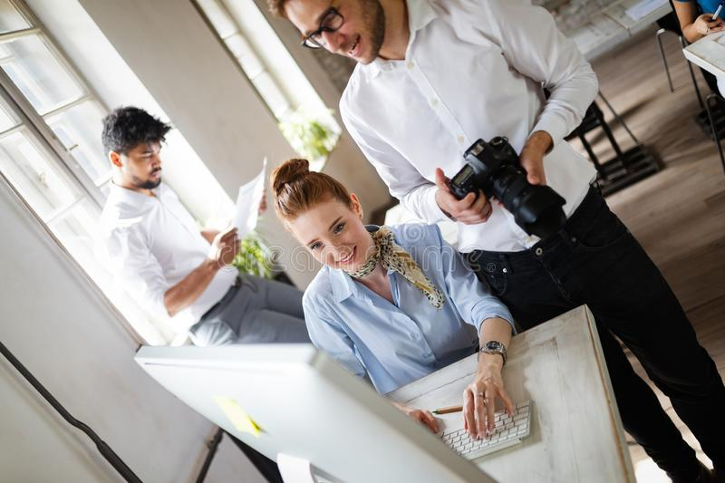 Multiethnic startup business team on meeting in modern bright office interior brainstorming stock photo
