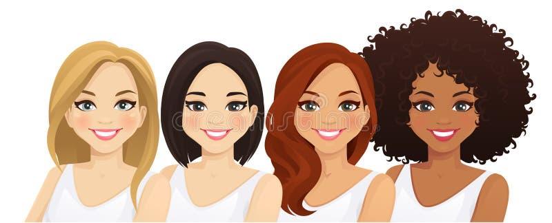 Multiethnic women. Different female faces isolated vector illustration stock illustration