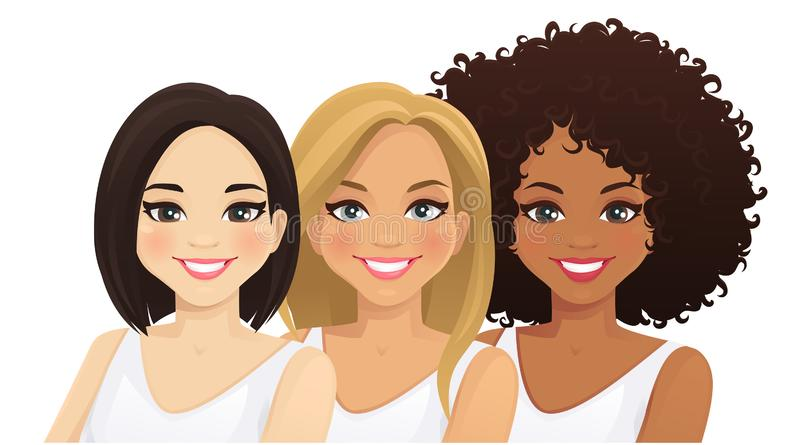 Multiethnic women. Three different female faces. Asian, african and caucasian isolated vector illustration stock illustration