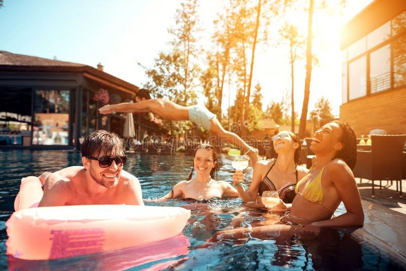 Multiethnische Firma von Leuten im Swimmingpool Firma von jungen Leuten verbringen Wochenende im Pool lizenzfreie stockbilder