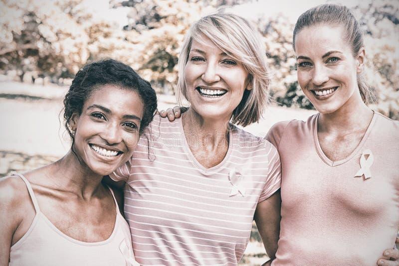 Multiethnische Freiwillige, die am Brustkrebsbewusstsein teilnehmen lizenzfreie stockfotos