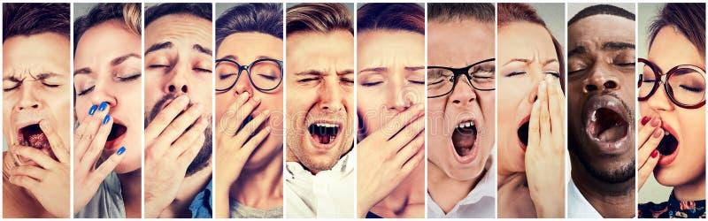 Multiethnische Gruppe des gähnenden Schauens der schläfrigen Leutefrauen-Männer gebohrt lizenzfreie stockfotografie