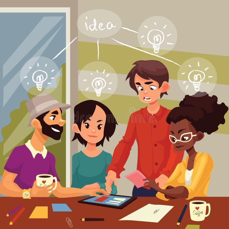 Multiethnische Gruppe junge kreative Leute, die Ideen im Büro gedanklich lösen lizenzfreie abbildung