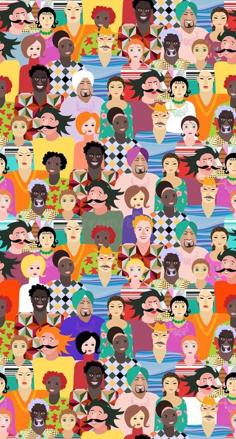 Multiethnische Gruppe von Personen Nahtloses Vektormuster mit Männern und Frauen des verschiedenen Alters, der Rennen und der Nat stock abbildung