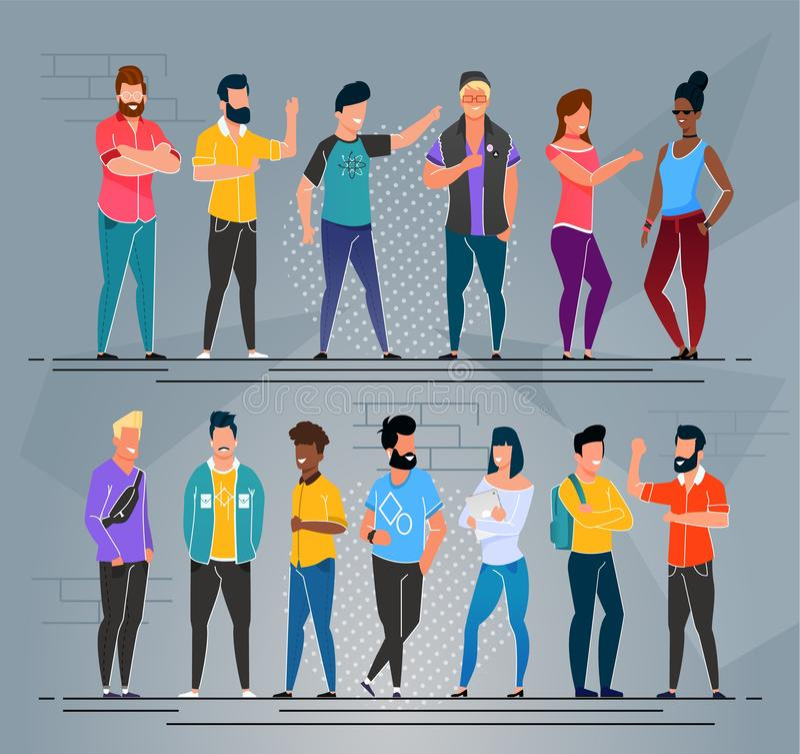 Multiethnischer Leute-Freiberufler-Karikatur-Gruppen-Satz vektor abbildung