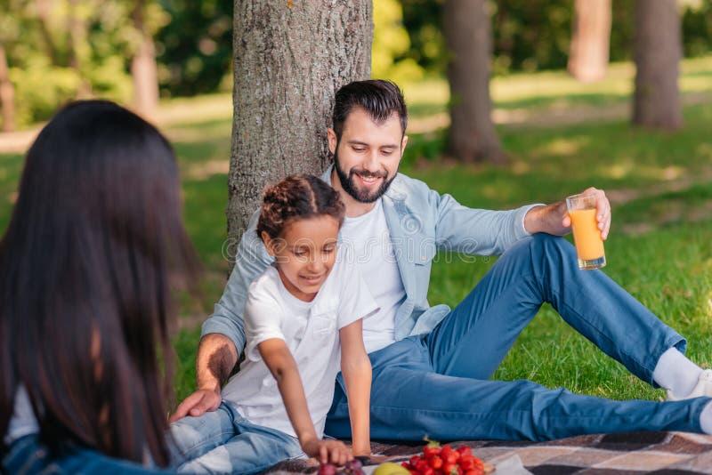 Multietnisk familj som dricker fruktsaft och äter frukter på picknicken royaltyfri bild