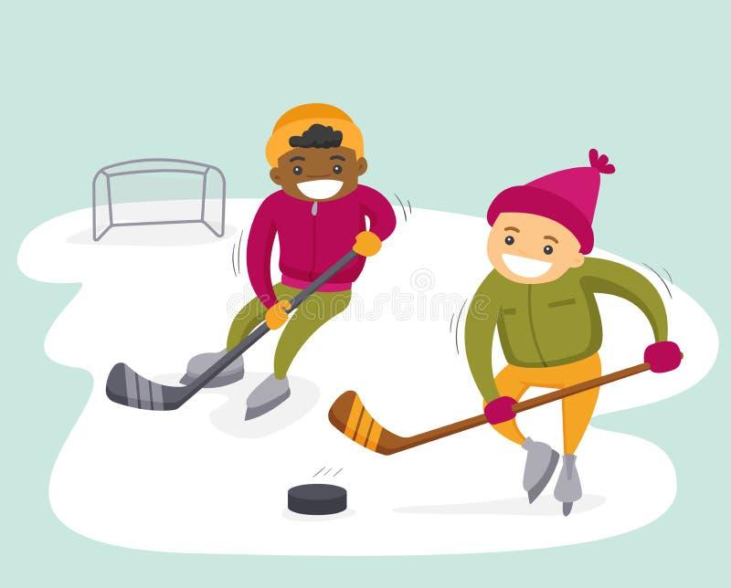 Multietniska pojkar som spelar hockey på utomhus- isbana vektor illustrationer