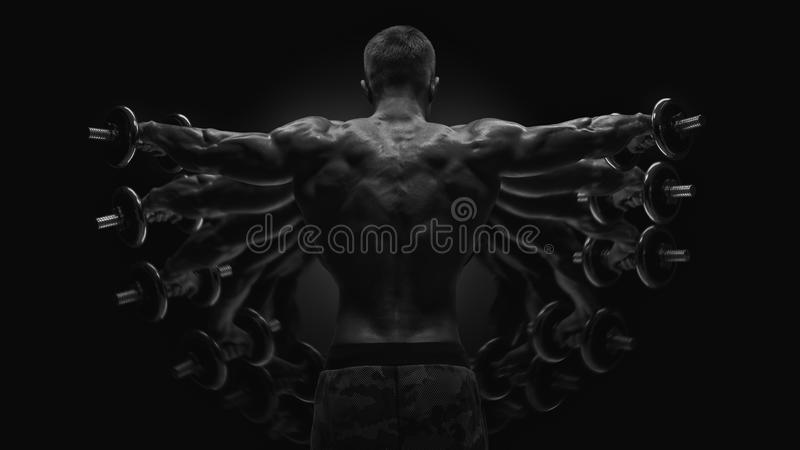 Multiexpose black and white shot Dumbbell Lateral Raise workout royalty free stock photo