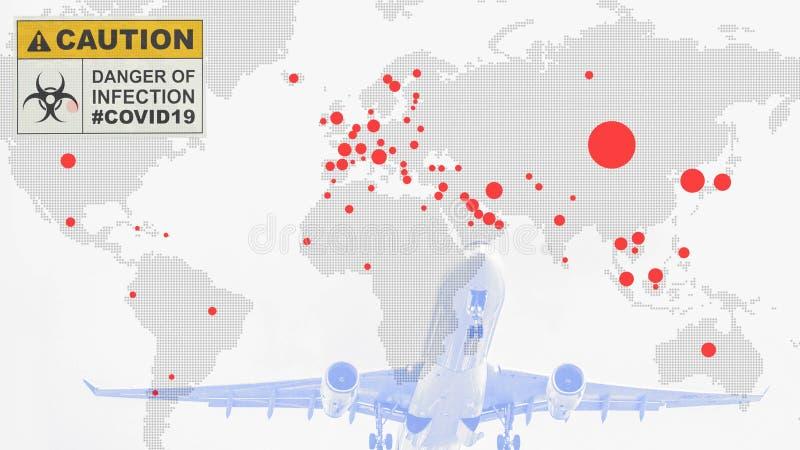 Multiexposition der Weltkarte mit roten Flecken des Corona-Virus covid 19 infizierte Länder mit Start von Flugzeug und Coronaviru lizenzfreies stockfoto