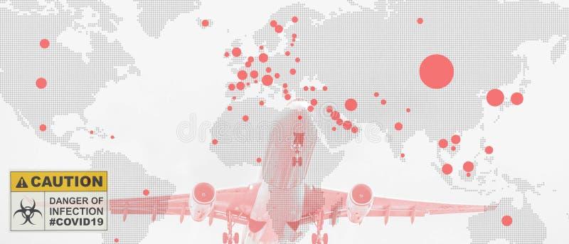Multiexposition der Weltkarte mit roten Flecken des Corona-Virus covid 19 infizierte Länder mit Start von Flugzeug und Coronaviru stockbild