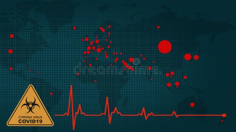 Multiexposition der Weltkarte mit roten Flecken des Corona-Virus covid 19 infizierte Länder und Herz- und Corona-Virus-Biogefahr stockfotografie