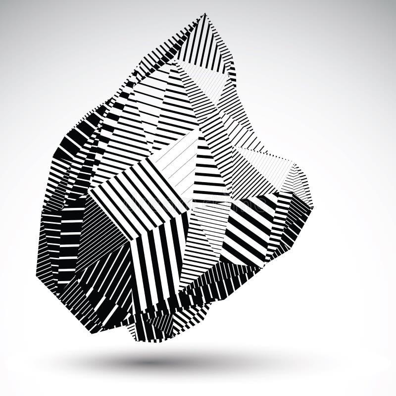 Multifaceted asymetryczna kontrast postać z równoległymi liniami ilustracja wektor