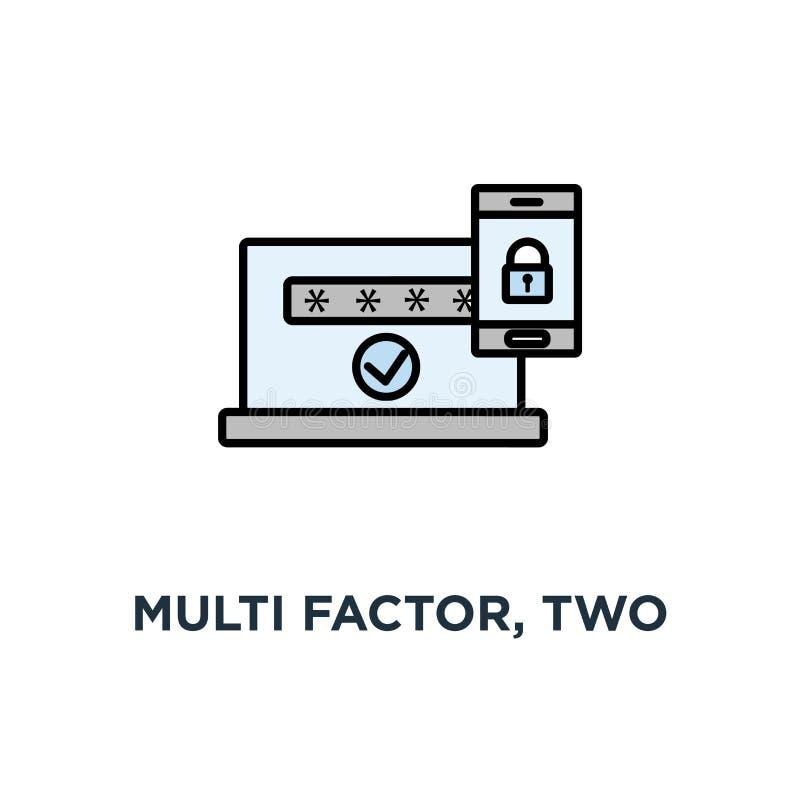 multifactor, twee stappenauthentificatie, online toegangsbeheerpictogram, symbool van mobiele telefoon met slot, wachtwoord en au royalty-vrije illustratie