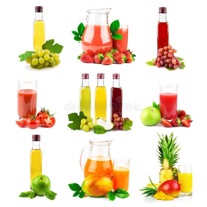 Multifruit en groentesap met tropisch fruit en vegetabl royalty-vrije stock foto