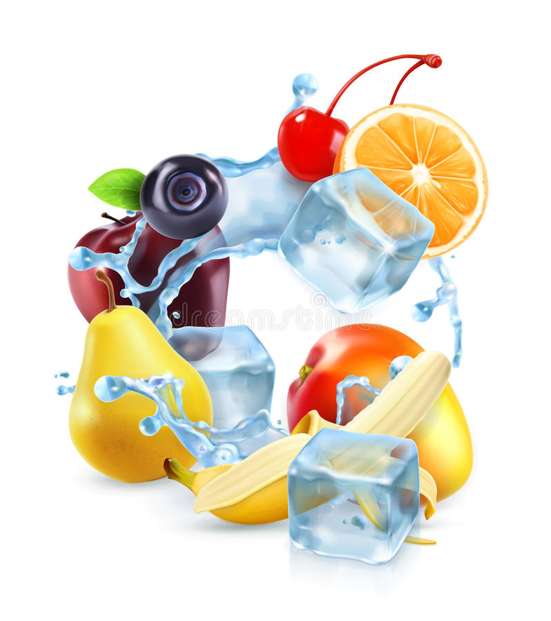 Multifruit mit Eiswürfeln und Wasserspritzen stock abbildung