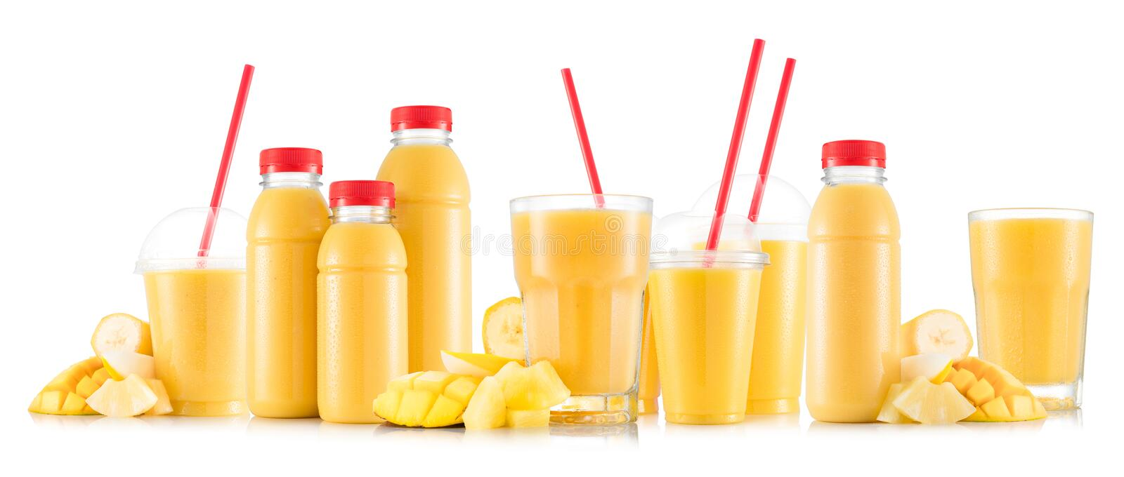 Download Multifruit Smoothie In Many Kinds Of Glasses And Bottles Stock Photo - Image of menu, breakfast: 81769456