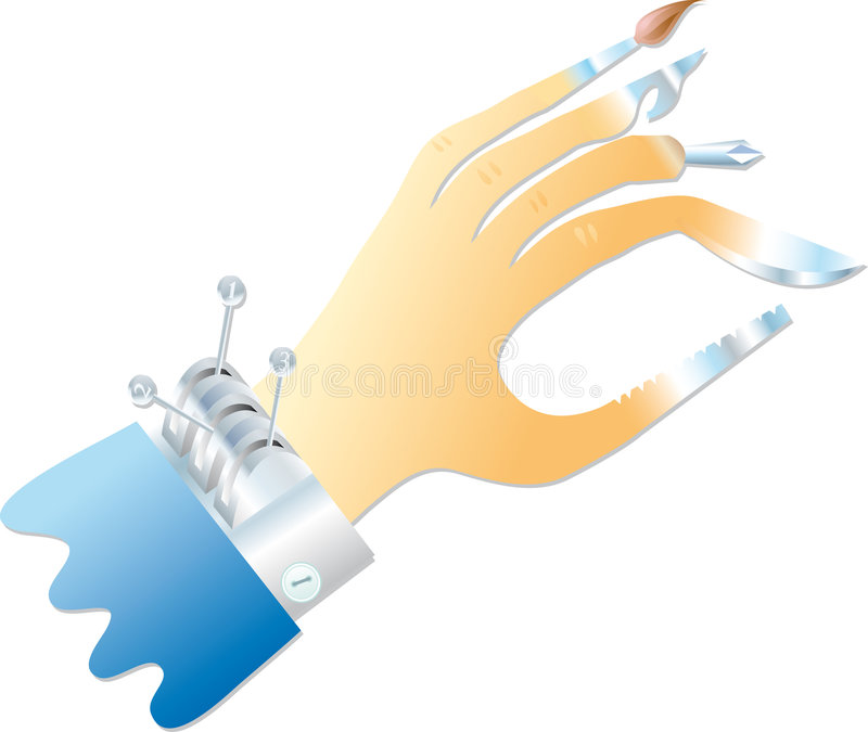 Multifunction hand. A multifunction hand with various equipments instead of fingers stock illustration