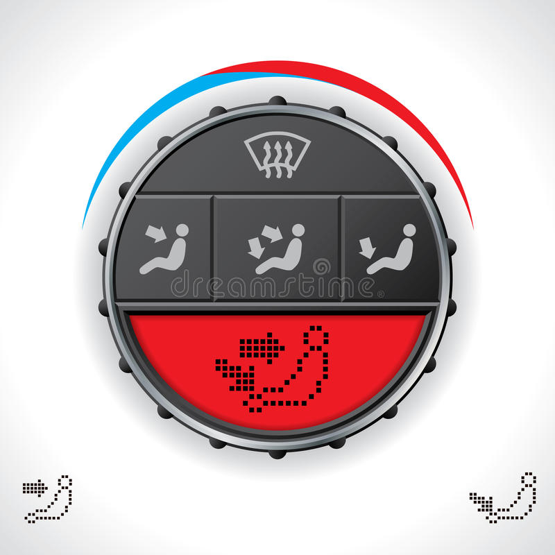 Multifunctional bilclimakontroll med röd skärm stock illustrationer