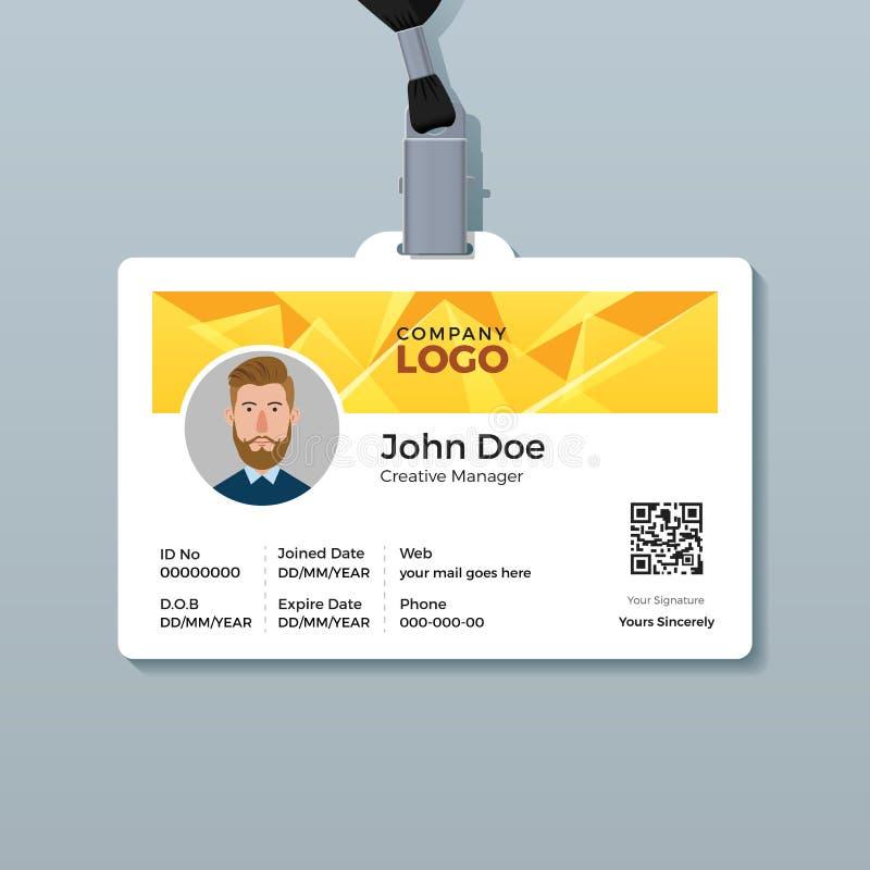 Multifunctioneel Identiteitskaartmalplaatje met Gele Piramideachtergrond vector illustratie
