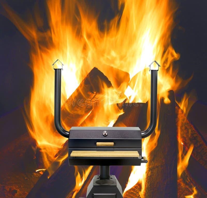 Multifunctionele kokende oven, vlammen royalty-vrije stock afbeeldingen