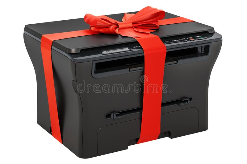 Multifunctionele printer MFP met lint en boog, giftconcept 3d stock illustratie