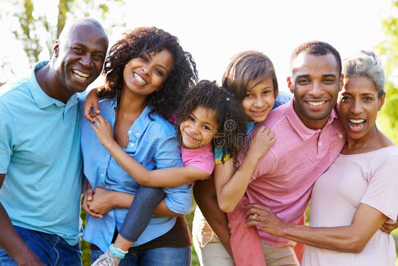 Multigeneratie Afrikaanse Amerikaanse Familie die zich in Tuin bevinden royalty-vrije stock foto's
