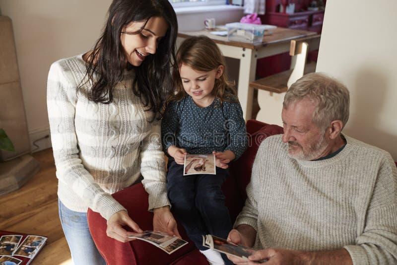 Multigeneratiefamilie die thuis Foto's bekijken stock fotografie