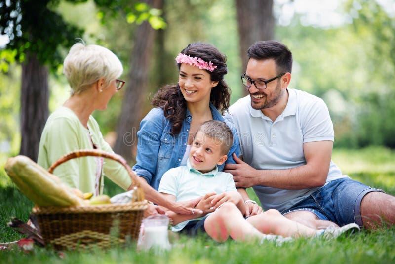 Multigeneratiefamilie die van picknick in een park genieten stock foto