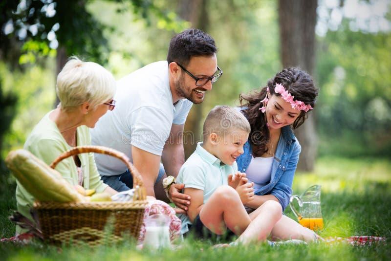 Multigeneratiefamilie die van picknick in een park genieten royalty-vrije stock foto